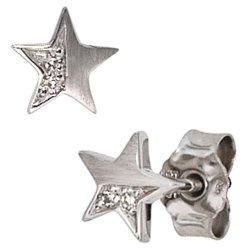 Ohrstecker Stern 585 Gold Weißgold matt 1 Diamant Brillant 0,022ct. Ohrringe