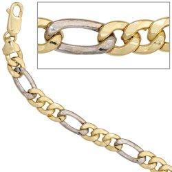 Figaroarmband 333 Gold Gelbgold Weißgold bicolor 19 cm Armband Karabiner