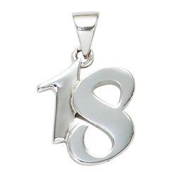 Anhänger 18 Achtzehn 925 Sterling Silber massiv rhodiniert