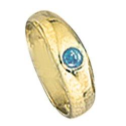 Kinder Taufring 333 Gold Gelbgold 1 blauer Safir Taufanhänger
