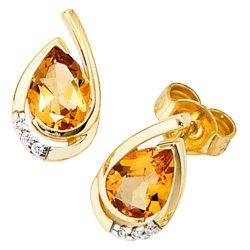 Ohrstecker Tropfen 585 Gold Gelbgold 6 Diamanten 2 Citrine orange Ohrringe