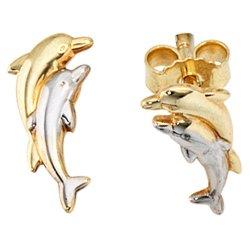 Kinder Ohrstecker Delfine 333 Gold Gelbgold bicolor Ohrringe Kinderohrringe