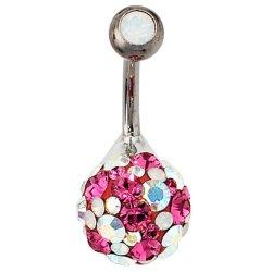 Bauchnabel Piercing 925 Silber mit SWAROVSKI® ELEMENTS pink Stab und Kugel Titan