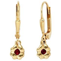Kinder Boutons Blume 333 Gold Gelbgold 2 Rubine rot Ohrringe Ohrhänger