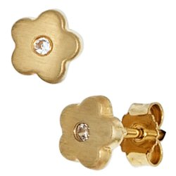 Kinder Ohrstecker Blume Blumen 333 Gold Gelbgold mattiert 2 Zirkonia Ohrringe