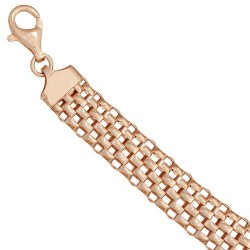 Armband 925 Sterling Silber rotgold vergoldet 21 cm Karabiner