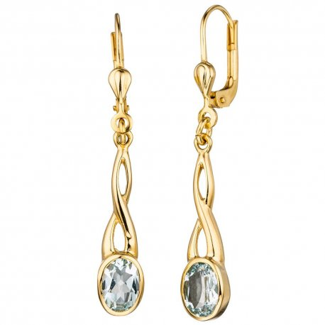 Ohrhänger 585 Gold Gelbgold 2 Aquamarine helllbau blau Ohrringe Boutons