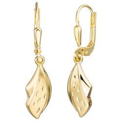 Boutons 333 Gold Gelbgold teil matt Ohrringe Ohrhänger Goldohrringe