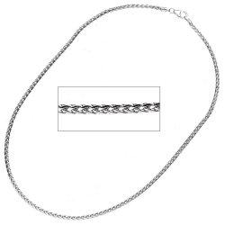 Zopfkette 585 Weißgold 2,6 mm 45 cm Gold Kette Goldkette Weißgoldkette Halskette