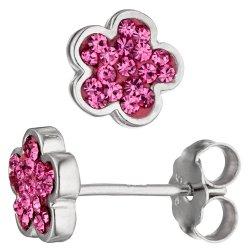 Ohrstecker Blume 925 Sterling Silber Glassteine pink Ohrringe Silberohrringe
