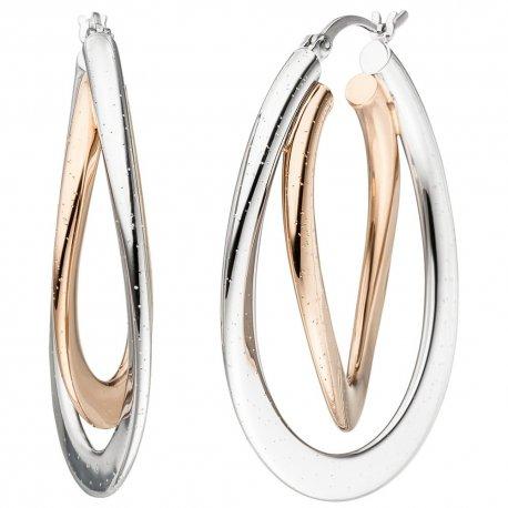 Creolen oval 925 Silber bicolor vergoldet Ohrringe mit Glitzereffekt
