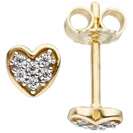 Kinder Ohrstecker Herz 375 Gold Gelbgold 12 Zirkonia Herzohrstecker Ohrringe