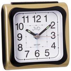 JVD SRP962.6 Wecker Quarz analog golden schwarz eckig leise ohne Ticken Licht