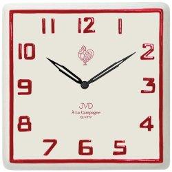 JVD TS2618.3 Küchenuhr Wanduhr Küche Quarz analog Keramik weiß rot Keramikuhr
