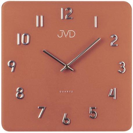 JVD H85.5 Wanduhr Quarz analog silbern rostrot terracotta eckig viereckig Glas