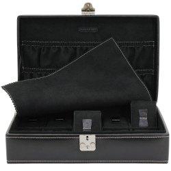 Friedrich Lederwaren Uhrenkoffer Uhrenkasten Uhrenbox Leder schwarz für 10 Uhren