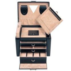 Sacher Schmuckkoffer Schmuckkasten schwarz abschließbar Uhrenfach Schubladen