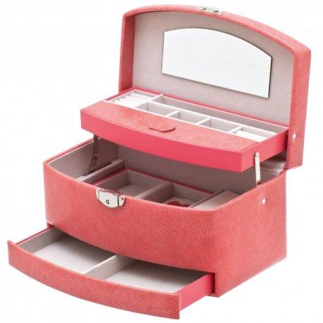 Davidt's Schmuckkoffer Schmuckkasten rosa rot Reiseetui Schloss Spiegel