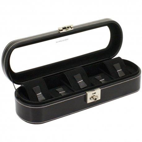 Friedrich Lederwaren Uhrenkoffer Uhrenkasten Uhrenbox LONDON schwarz für 5 Uhren