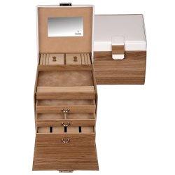 Sacher Schmuckkoffer Schmuckkasten NORDIC STYLE weiß und Holz-Optik Uhrenfach