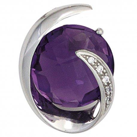 Anhänger 585 Gold Weißgold 1 Amethyst lila violett 5 Diamanten Brillanten 0,02ct