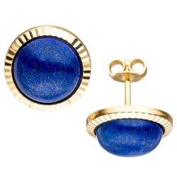 Ohrstecker rund 333 Gold Gelbgold 2 Lapislazuli blau Ohrringe Goldohrringe