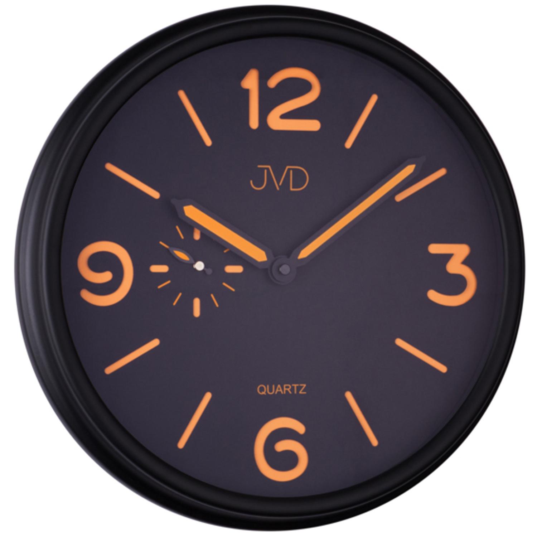jvd ha11 2 wanduhr quarz schwarz orange matt rund. Black Bedroom Furniture Sets. Home Design Ideas
