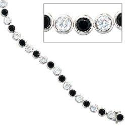 Armband 925 Silber 19 cm mit Zirkonia schwarz weiß Silberarmband Kastenschloss