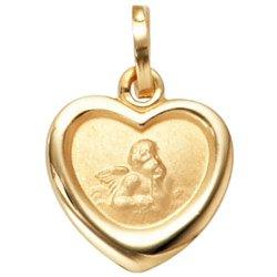 Kinder Anhänger Engel Schutzengel 333 Gold Gelbgold mattiert Kinderanhänger