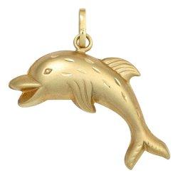 Kinder Anhänger Delfin 333 Gold Gelbgold mattiert Kinderanhänger