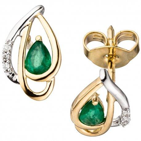 Ohrstecker 585 Gelbgold bicolor 6 Diamanten Brillanten 2 Smaragde grün