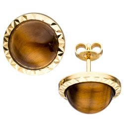 Ohrstecker rund 585 Gold Gelbgold 2 Tigeraugen braun Ohrringe Goldohrringe