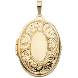 Medaillon oval für 2 Fotos 925 Silber gold vergoldet Anhänger zum Öffnen