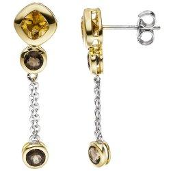 Ohrhänger 925 Silber bicolor vergoldet 4 Rauchquarze 2 Citrine Ohrringe