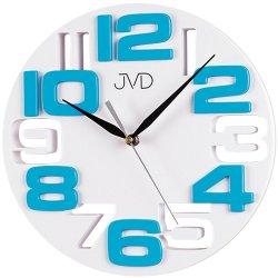JVD H107.6 Wanduhr Quarz analog weiß türkis rund modern