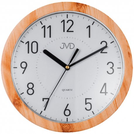 JVD H612.18 Wanduhr Quarz analog rund leise ohne Ticken Holz-Optik