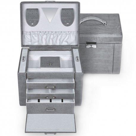 Sacher Schmuckkoffer Schmuckkasten Leder grau abschließbar Uhrenfach Schubladen