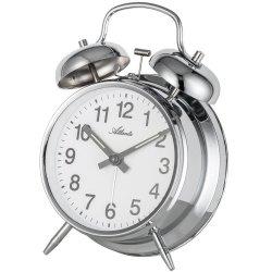 Atlanta 1054/19 Mechanischer Wecker Glockenwecker Doppelglockenwecker silbern