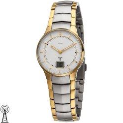 JOBO Damen Armbanduhr Funk Edelstahl bicolor vergoldet mit Datum