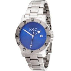 JOBO Herren Armbanduhr blau Quarz Analog Edelstahl Datum Herrenuhr