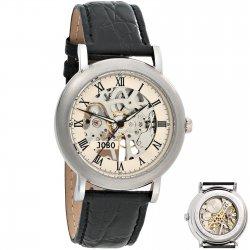 JOBO Herren Armbanduhr Handaufzug Skelett-Werk Glasboden