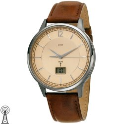 JOBO Herren Armbanduhr Funk Titan Lederband braun mit Datum