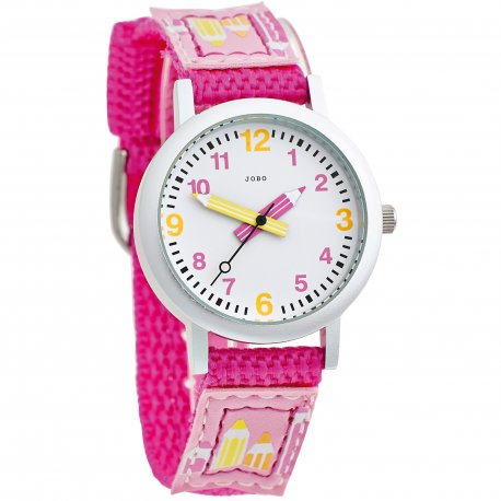 JOBO Kinder Armbanduhr pink Quarz Analog Aluminium Edelstahlboden Kinderuhr