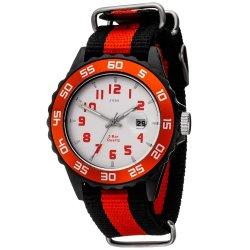 JOBO Kinder Armbanduhr Quarz Analog schwarz rot Kinderuhr mit Datum