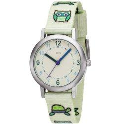 JOBO Kinder Armbanduhr Eule Eulen hellgrün grün Quarz Analog Kinderuhr