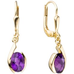 Boutons 333 Gold Gelbgold 2 Amethyste lila violett Ohrringe Ohrhänger