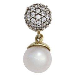 Anhänger 333 Gold Gelbgold 1 Süßwasser Perle mit Zirkonia Perlenanhänger