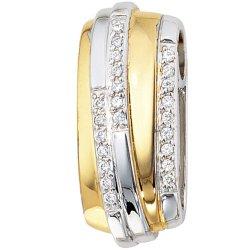 Anhänger 925 Sterling Silber rhodiniert bicolor vergoldet mit Zirkonia