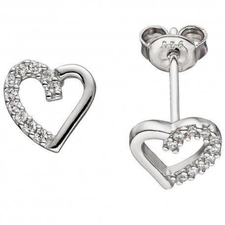 Ohrstecker Herz 925 Sterling Silber mit Zirkonia Ohrringe Herzohrringe