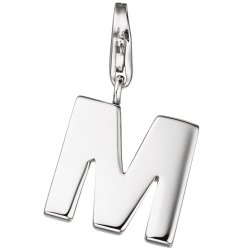 Einhänger Charm Buchstabe M 925 Sterling Silber Anhänger für Bettelarmband